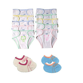 Set 10 quần đóng bỉm, tả vải cotton JOU cho bé ( Tặng kèm 2 đôi tất sơ sinh amigo như hình)