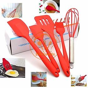 Bộ 5 chổi phới spatula đỏ silicon