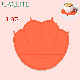 Uareliffe 3Pcs Cat Paw Cup Pad Cute Silicone Coaster Coffee Cup Mat Mug Table Pad Non-slip Heat Insulation Cup Pads Dirt-resistant Tableware Placemat Kitchen Accessories