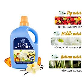 Nước xả vải hương nước hoa Ý siêu thơm lâu hổ phách và vanilla Felce Azzurra 3L