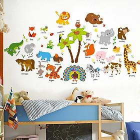 Decal dán tường từ vựng tiếng anh về động vật cho bé SK2996