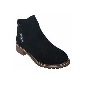 Giày Boot Nữ Cổ Lửng Da Buck T59 - Đen