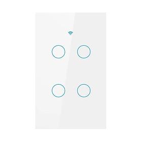 Công tắc cảm ứng Wifi thông minh 4 nút nhấn điều khiển từ xa qua Smartphone - HCN màu trắng - Hàng nhập khẩu