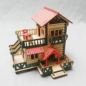 Đồ chơi lắp ráp gỗ 3D Mô hình Nhà gỗ Nông thôn Laser