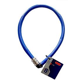 Khóa dây cao cấp khóa xe đạp xe máy, khóa cửa cổng nhà (Mật mã 3 số, 55cm, thép không gỉ, Mầu xanh)