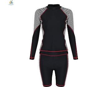 Đồ bơi liền mảnh Lan Hạnh nữ áo tay dài quần shorts Đen sọc 21087-DE101