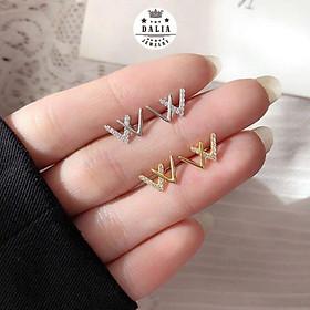 Bông tai bạc nữ DaLiA Jewelry chữ W, khuyên tai tWist nam đá siêu xinh, tinh tế