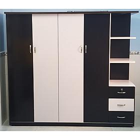 Tủ áo kèm kệ trang trí 2m x 1m8 x 0,5 m (Đen Trắng)