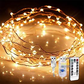 Dây đèn nháy Led đom đóm trang trí nguồn USB Điều khiển từ xa chọn 8 chế độ nháy 20M/10M/5M/3M Vàng nắng dây bóng đèn nháy cao cấp decor nhà cửa, lễ tết, lều trại du lịch cao cấp, bền đẹp, tinh tế, sang trọng - Chính hãng DEHA