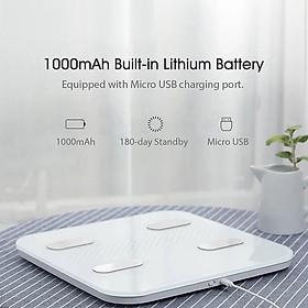 Xiaomi YUNMAI Color 2 Thân Cân thông minh BT Cân béo Màn hình LED Sạc USB 1000mAh Ứng dụng thông minh cho iOS Android
