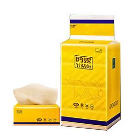 Khăn giấy ăn Dulu 3 lớp, sợi tre tự nhiên siêu dai, thấm hút tốt, thân thiện với môi trường, bảo vệ tài nguyên rừng - Túi 3 gói 390 tờ 190*153mm- Màu vàng