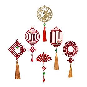 Combo 6D - Bộ 6 món dây treo trang trí Tết Khai Lộc Hoàng Kim màu đỏ