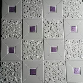 10 tấm xốp dán tường giả da điểm màu tím