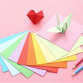 Giấy Gấp Origami, Giấy Thủ Công Gấp Hạc Gấp Hoa Gấp Hình Động Vật ( 7cm*7cm 10 Màu 100 Tờ)