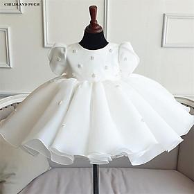 Đầm công chúa satin trắng đơn giản cho bé từ 1 - 12 tuổi