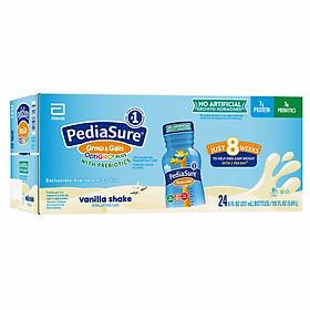 Sữa nước Pediasure Grow & Gain OptiGRO Plus  Vanilla Shake (Vị vanilla) 237ml x 24 Chai (Thùng) Mẫu mới 2020 - Nhập khẩu Mỹ