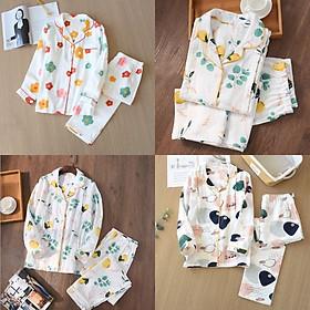 Bộ Đồ Pyjama Bầu Và Sau Sinh Dài Tay Azuno AZ9449  Mặc Mùa Hè Cực Mát Chất Liệu Xô Nhật Cao Cấp