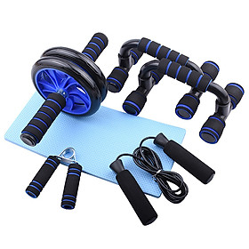 6 PCS Home Gym Fitness Set Abdominal Roller Wheel Push up Bars Hand Gripper Jump Rope Knee Pad Pack Kit
