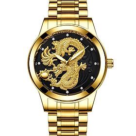 Đồng Hồ Nam Fngeen Rồng Vàng 3D Dây Thép Đúc Không Gỉ Sang Trọng Cao Cấp