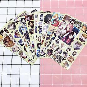 Set Ảnh dán 12 tấm sticker Kimetsu no Yaiba Thanh gươm diệt quỷ in hình anime idol dễ thương