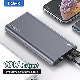 Sạc Dự Phòng TOPK I1006/I1006P 10000mAh Sạc nhanh Hiển thị kỹ thuật số Pin dự phòng cho iPhone HUAWEI Samsung Xiaomi OPPO Vivo Realme - Hàng chính hãng