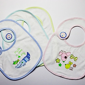 Hình đại diện sản phẩm Combo 3 Yếm Xây Dán Jou Cotton 100% Cao Cấp ( Đồ Dùng Ăn Dặm Cho Bé Sơ Sinh 3-24 Tháng )