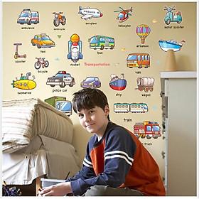 Decal dán tường từ vựng tiếng anh về các phương tiện giao thông cho bé