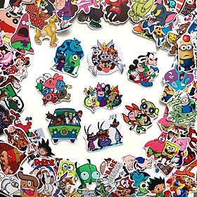 Bộ sticker chủ đề Cartoon hoạt hình 2019, decal hình dán chống nước, trang trí nón bảo hiểm, điện thoại, lap top ...