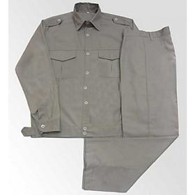Bộ áo và quần bảo hộ lao động vải kaki màu ghi