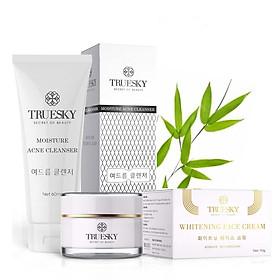 Bộ sản phẩm hỗ trợ trị mụn và dưỡng trắng da mặt Truesky gồm 1 sữa rửa mặt than hoạt tính 60ml & 1 kem dưỡng trắng da mặt 10g