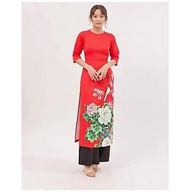 Áo Dài Cách Tân Màu Đỏ, Áo Dài Nữ Cổ Tròn Tay Lở Họa Tiết Hoa Trạng Nguyên Thời Trang Cho Phái Đẹp.