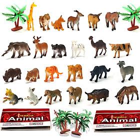 Bộ 24 đồ chơi mô hình thế giới động vật Animal World cho bé trên 3 tuổi chất liệu nhựa dẻo an toàn