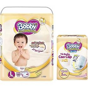 Tã Dán Siêu Mềm Bobby Extra Soft Dry Gói Siêu Lớn L-58 Miếng (9-13kg) Tặng 6 Miếng Tã Quần Cùng Size