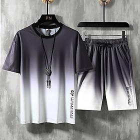 Bộ thể thao nam phong cách hàn quốc in 3d vải thun lạnh siêu thoáng túi có dây kéo và dây rút đa năng