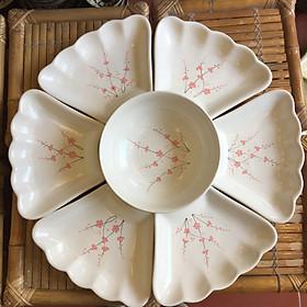 Bộ bát đĩa gốm sứ cao cấp hoa mặt trời họa tiết đào gấm dùng trong bữa ăn gia đình, thắp hương, quà tân gia...