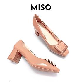 Giày cao gót công sở nữ basic da bóng mũi vuông gót trụ phối khoá 7cm Miso M1013a