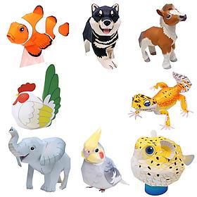 Mô hình giấy cắt dán thủ công Động vật cute Combo 0006