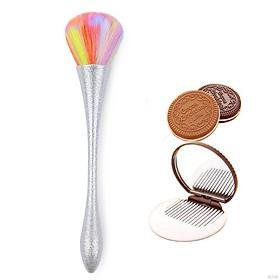 Combo 2_Gồm 1 Cọ Trang Điểm Cán Nhũ Lông Mềm và 1 Bộ Gương Lược Mini Hình Bánh Quy Chocolate Màu Ngẫu Nhiê