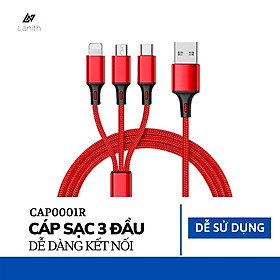 Dây sạc 3 đầu 3 in 1 siêu bền, nhiều cổng sạc: USB micro, type C, lightning cho điện thoại Iphone, Samsung – Dây cáp sạc điện thoại đa năng - CAP0001