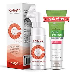 Collagen Rửa Mặt Cọ Massage Trắng Da 120ml Hộp Đỏ TẶNG Tẩy Tế Bào Chết Da Mặt Trà Xanh 100ml LANGCE