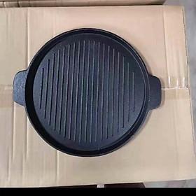 chảo gang nướng đen trống dính 22 cm
