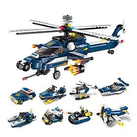 Hộp 8 bộ đồ chơi lắp ráp Trực thăng tấn công 8in1 Qman 1801 (381 chi tiết)