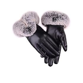 Bao tay nữ cảm ứng chống nước giữ nhiệt mùa đông new - Đen