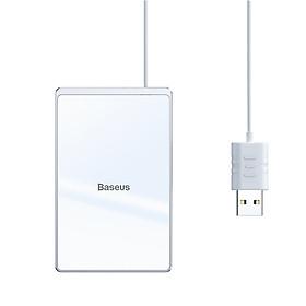 Đế sạc nhanh không dây siêu mỏng Baseus Card Ultra-thin Wireless Charger (15W, 0.3cm Portable Card Design, Qi Wireless Quick Charger with USB cable 1m) - Hàng chính hãng