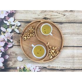 Khay gỗ decor, nghệ thuật; khay gỗ hình thái cực đạo gia, dùng đựng bánh mứt, hạt dưa, thực phẩm