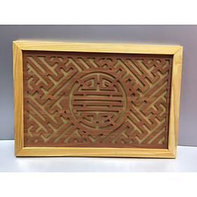 Tấm chống ám khói khung gỗ sồi   ( trang trí trên ban thờ treo tường)