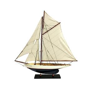 Mô hình du thuyền đua gỗ Penduick (thân 50cm - sơn trắng/xanh)