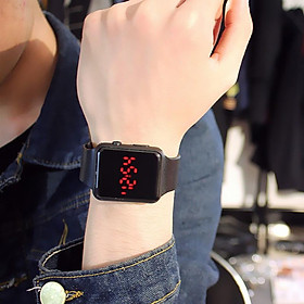 Đồng hồ thời trang Unisex hiển thị giờ Led AP118 dây cao su bền bỉ kiểu mặt vuông hottrend