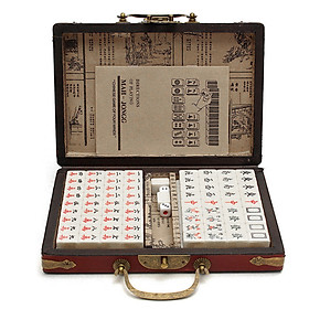 Portable Retro Mahjong Box Mah-Jong Chinese Numbered Mahjong Set 144 Tiles Mah-Jong Set Portable Chinese Toy with Box