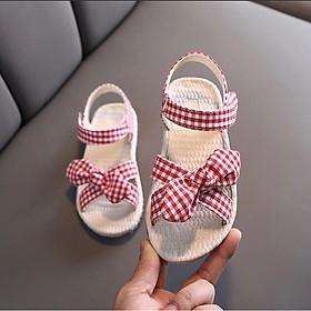 Giày sandal bé gái caro sọc